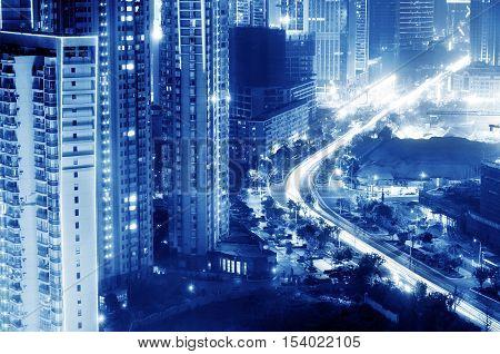 City scene of shanghai at night China