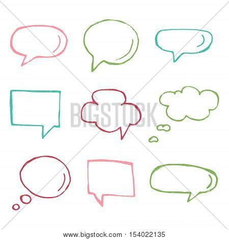 Hand drawn vector thought and speech bubbles and balloons. Blank empty white speech bubbles. Think cloud symbols. Sketch hand drawn bubble speech.