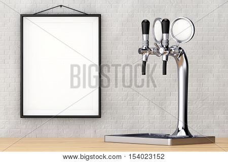 Bar Beer Tap closeup in front of brick wall with Blank Frame. 3d Rendering