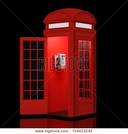 Classic British Red Phone Booth on a black background. 3d Rendering