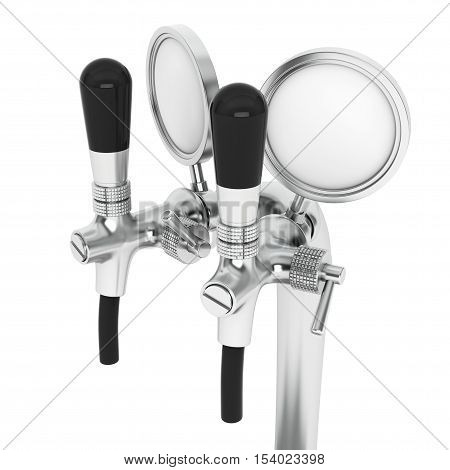 Bar Beer Tap closeup on a white background. 3d Rendering