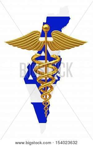Gold Medical Caduceus Symbol with Israel Flag a white background. 3d Rendering