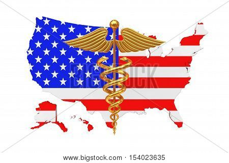 Gold Medical Caduceus Symbol with United States of America USA Flag a white background. 3d Rendering