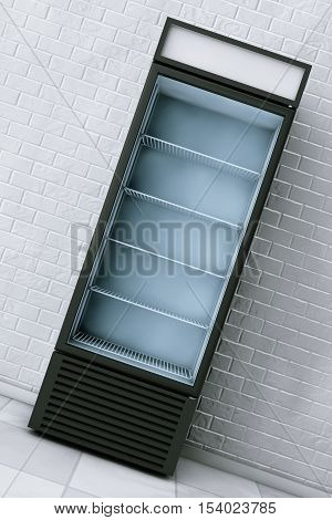 Fridge Drink with Glass Door in front of brick wall. 3d Rendering
