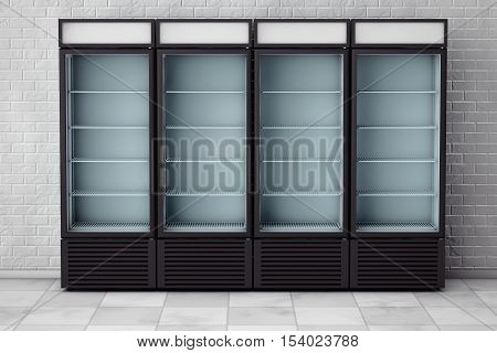 Fridges Drink with Glass Door in front of brick wall. 3d Rendering