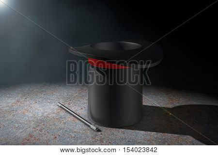 Magic Hat and Magic Wand in the volumetric light on a black background. 3d Rendering