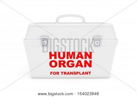 Fridge Box for transporting Human Donor Organs on a white background. 3d Rendering
