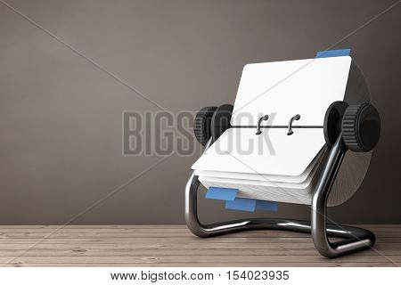 Rotary Desk Card Index on a wooden table. 3d Rendering
