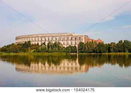 The unfinished building of The Congress Hall (Kongresshalle) a part of the former Nazi Party Rally Grounds in Nuremberg Germany