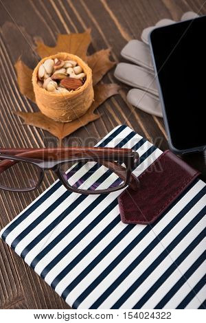 Nuts gloves phone glasses Notepad in blue stripes