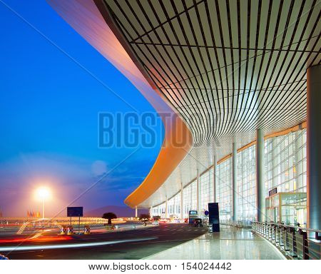 Modern architecture at night China Shanghai pudong airport.