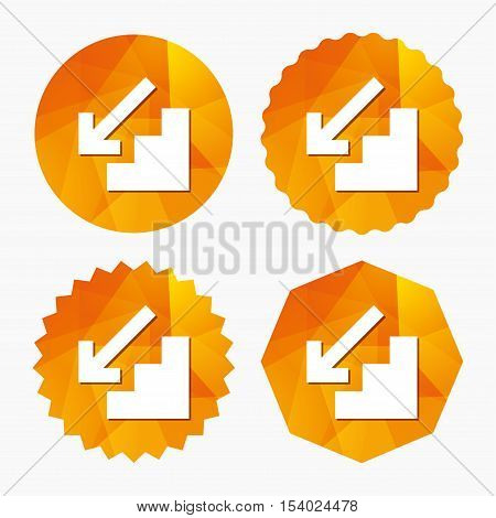 Downstairs icon. Down arrow sign. Triangular low poly buttons with flat icon. Vector
