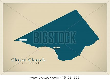 Modern Map - Christ Church BB Barbados illustration vector