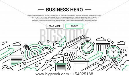 Business Hero - illustration of vector modern simple line design composition and infographics elements with super hero businessman. Header, banner for your site.