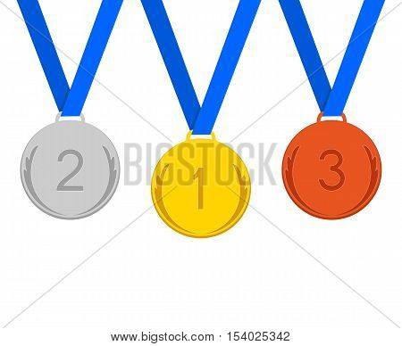Three Medals on a White Background. Medals with Blue Ribbons.