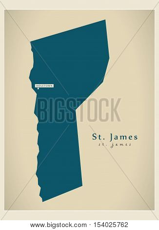 Modern Map - St. James BB Barbados illustration vector