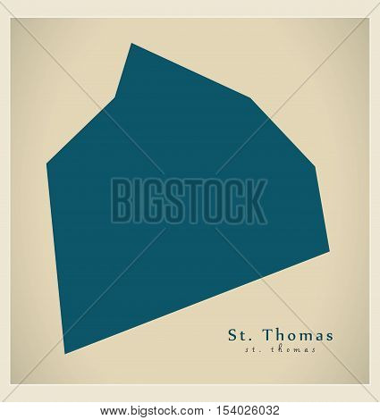 Modern Map - St. Thomas BB Barbados illustration vector