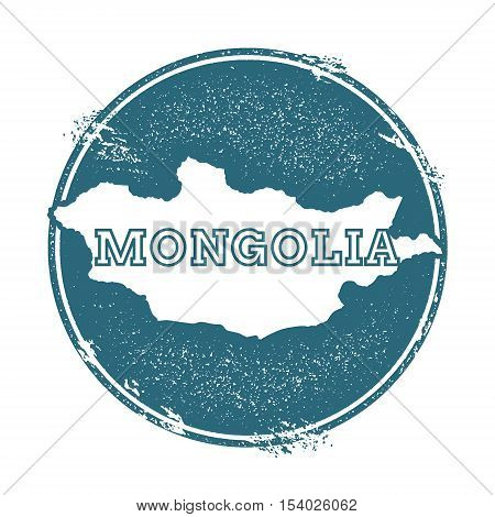 Grunge Rubber Stamp With Name And Map Of Mongolia, Vector Illustration. Can Be Used As Insignia, Log