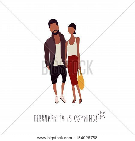 Flat Vector Illustration of a Hipster Looking Couple with a Shopping Bag