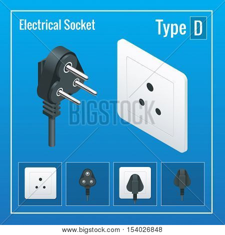 Isometric Switches and sockets set. Type D. AC power sockets realistic illustration. Power outlet and socket isolated. Plug socket