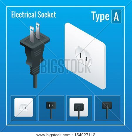Isometric Switches and sockets set. Type A. AC power sockets realistic illustration. Power outlet and socket isolated. Plug socket