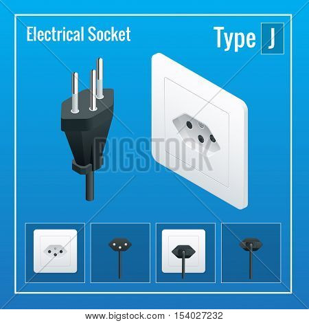 Isometric Switches and sockets set. Type J. AC power sockets realistic illustration. Power outlet and socket isolated. Plug socket