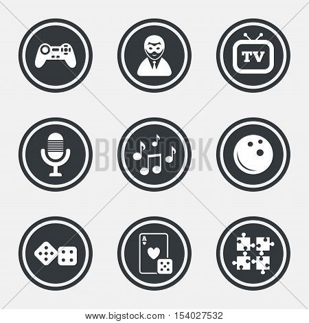Entertainment icons. Game, bowling and puzzle signs. Casino, carnival and musical note symbols. Circle flat buttons with icons and border. Vector