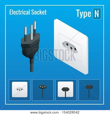 Isometric Switches and sockets set. Type N. AC power sockets realistic illustration. Power outlet and socket isolated. Plug socket