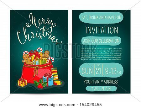 Christmas party poster vector illustration. Invitation poster on christmas party. Xmas celebration poster or Christmas poster design template. Christmas party poster layout or holiday poster. Xmas. Christmas concept, christmas decoration. Merry Christmas
