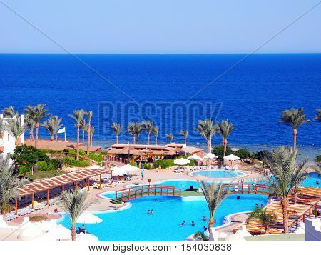 Sharm El Sheikh Egypt - August 20 2016: Tourists on vacation in the beautiful resort of Sharm El Sheikh.