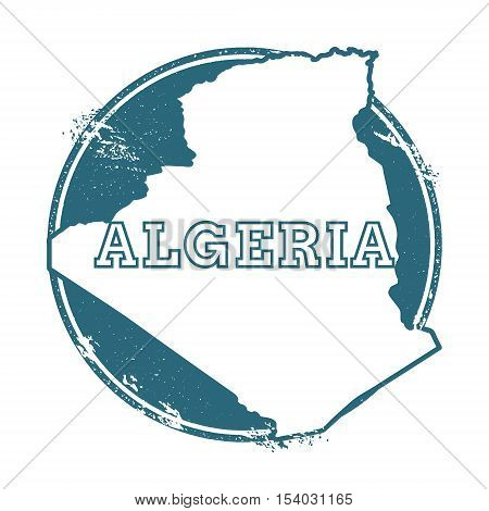 Grunge Rubber Stamp With Name And Map Of Algeria, Vector Illustration. Can Be Used As Insignia, Logo