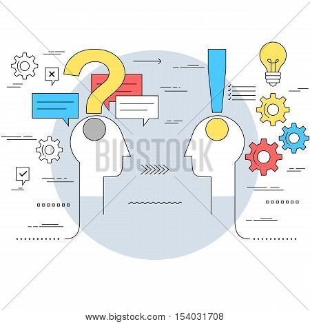 Business communication and expert advice concept line style illustration