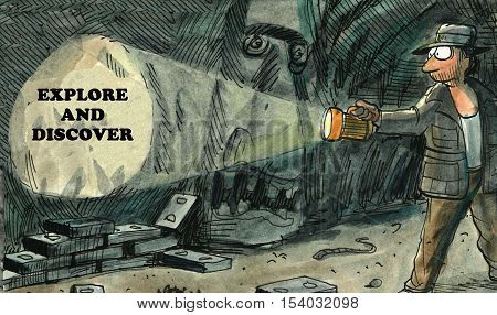 Color illustration of an explorer shining a flashlight on a cave wall that says, 'explore and discover'.