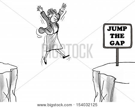 Black and white business illustration showing a smiling businesswoman 'jump the gap'.