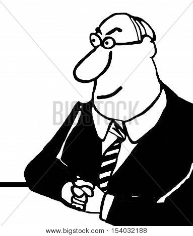Black and white business illustration of a smiling businessman sitting at his desk.