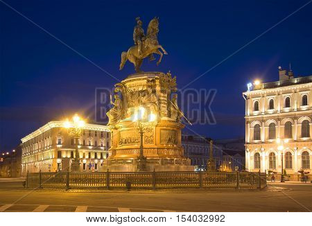 SAINT PETERSBURG, RUSSIA - JULY 06, 2015: Monument to Nicholas I on St. Isaac's square at night. Historical landmark of the city Saint Petersburg