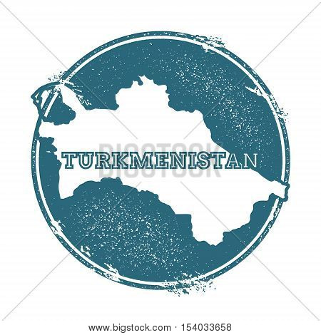Grunge Rubber Stamp With Name And Map Of Turkmenistan, Vector Illustration. Can Be Used As Insignia,