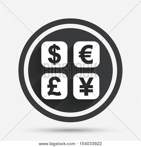 Currency exchange sign icon. Currency converter symbol. Money label. Circle flat button with shadow and border. Vector
