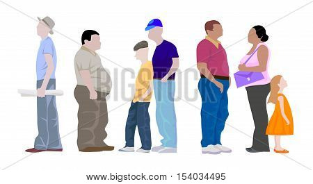 Urban People Set Colorful Flat Icon. Set Isolated Walking People Characters. Ordinary people standing at the bus stop and communicate. Vector colored Image.