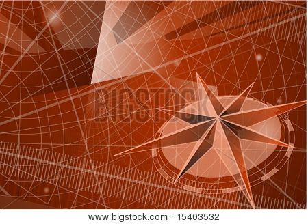The compass. Vector template.