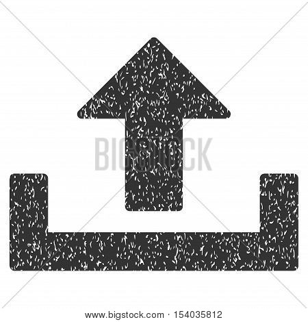 Upload grainy textured icon for overlay watermark stamps. Flat symbol with dust texture. Dotted glyph gray ink rubber seal stamp with grunge design on a white background.