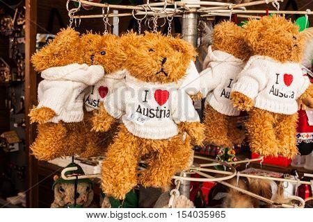 Salzburg Austria - August 23 2016: Souvenir toy stuffed bears wearing