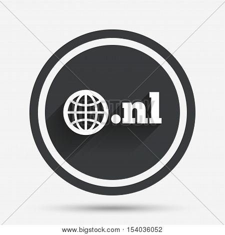 Domain NL sign icon. Top-level internet domain symbol with globe. Circle flat button with shadow and border. Vector