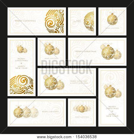 Vector Christmas white greeting card set with abstract swirl Christmas balls.