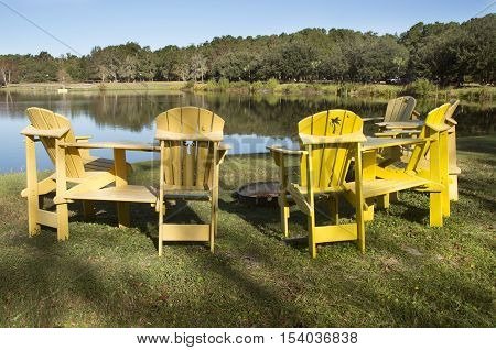 A circle of chairs surrounds a fire pit in a campground in CharlestonSouth Carolina