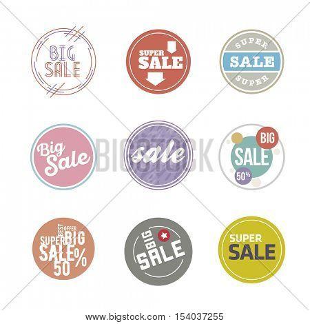 Vector circle Sale Sticker set. Desaturate colors, modern design.