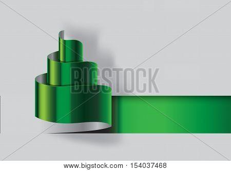 Christmas tree paper- cut design. Stylized ribbon Christmas tree illustration