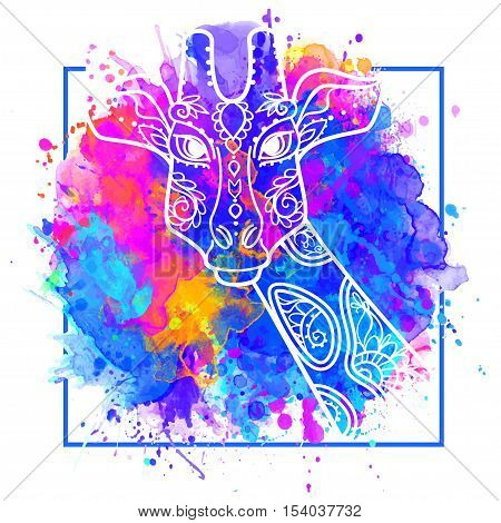 Giraffe head card watercolor boho style. Print for clothes, cards, picture banner for websites. Ethnic Indian ornaments. Vector illustration