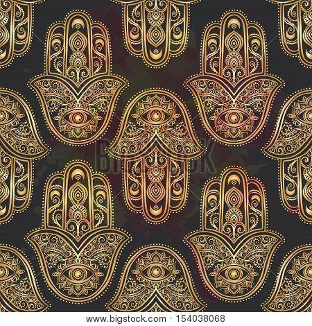 Ornament pattern with gold hamsa. Geometric circle element made in vector. Talisman ornamental hamsa, symbol Eye protection. Kaleidoscope, yoga, india, arabic