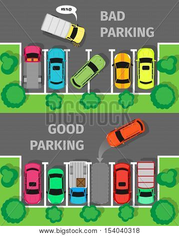 City parking vector web banner. Flat style. Shortage parking spaces. Large number of cars in a crowded parking. Urban infrastructure and car boom. Bad and good parking